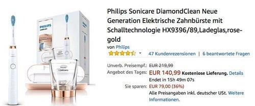 Philips Sonicare DiamondClean Neue Generation Elektrische Zahnbürste mit Schalltechnologie HX9396/89 - jetzt 17% billiger