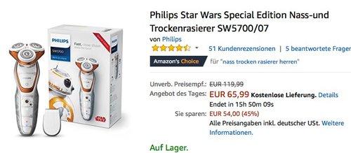 Philips Star Wars Special Edition Nass-und Trockenrasierer SW5700/07 - jetzt 24% billiger