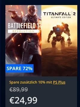 Playstation Store: bis bis 60% Rabatt auf PS4-Spiele (Battlefield™ 1 & Titanfall™ 2 Ultimate Bundle) - jetzt 50% billiger