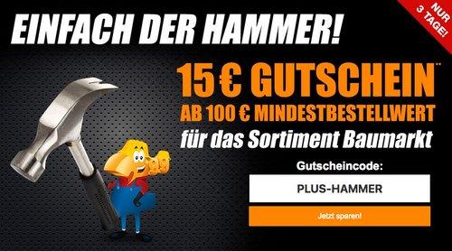 Plus.de Onlineshop: 15€ Gutschein ab 100€ MBV auf Baumarkt-Artikel - jetzt 12% billiger
