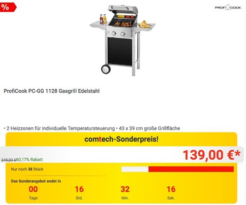 ProfiCook PC-GG 1128 Gasgrill Edelstahl - jetzt 11% billiger