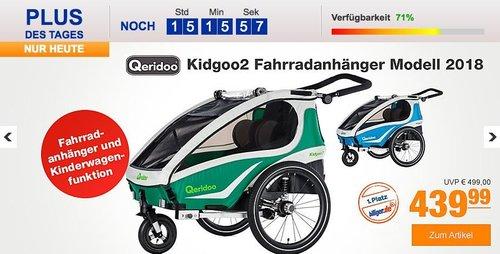 Qeridoo Kidgoo2 Fahrradanhänger Modell 2018 grün oder blau - jetzt 11% billiger