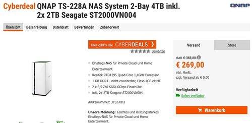 QNAP TS-228A NAS System 2-Bay 4TB inkl. 2x 2TB Seagate - jetzt 17% billiger