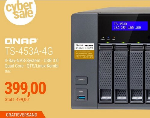 QNAP TS-453A-4G NAS System 4-Bay QTS-Linux Combo NAS - jetzt 20% billiger