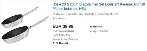Rösle 20 & 28cm Bratpfannen Set Edelstahl Keramik - jetzt 19% billiger