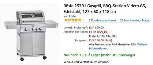 Rösle 25301 Gasgrill - jetzt 27% billiger
