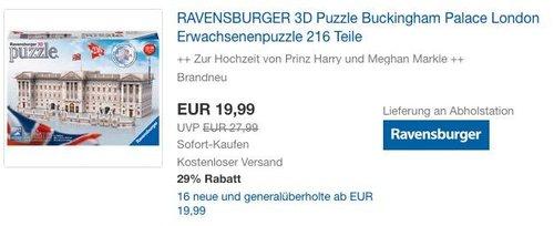 RAVENSBURGER 3D Puzzle Buckingham Palace London - jetzt 9% billiger