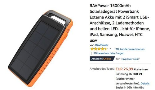 RAVPower 15000mAh Solarladegerät Powerbank - jetzt 34% billiger