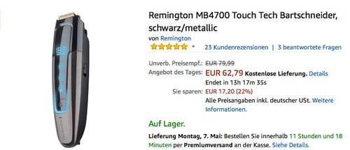 Remington MB4700 Touch Tech Bartschneider - jetzt 21% billiger