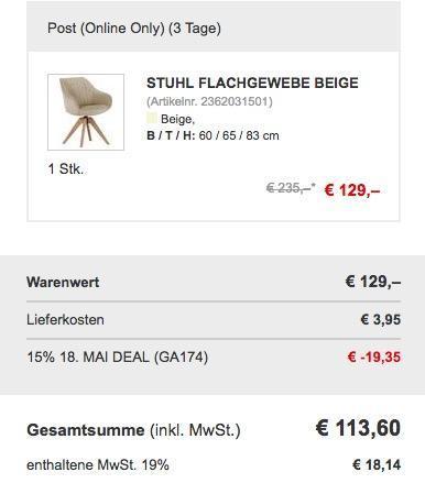 Retro-Stuhl mit Flachgewebe - jetzt 15% billiger