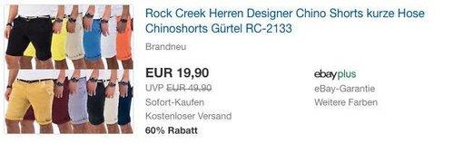 Rock Creek Herren Designer Chino Shorts - jetzt 33% billiger