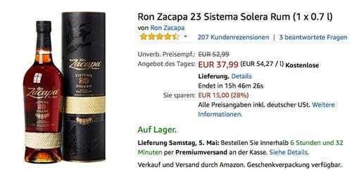Ron Zacapa 23 Sistema Solera Rum 0.7 l - jetzt 10% billiger
