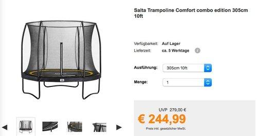 Salta Trampolin Comfort Edition 305 cm - jetzt 12% billiger