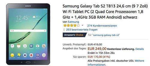 Samsung Galaxy Tab S2 T813 24,6 cm (9,7 Zoll) Wi Fi Tablet PC - jetzt 16% billiger