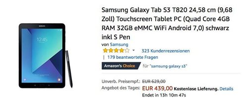 Samsung Galaxy Tab S3 T820 WiFi schwarz inkl S Pen - jetzt 20% billiger