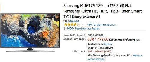 Samsung MU6179 189 cm (75 Zoll) Flat Fernseher - jetzt 8% billiger