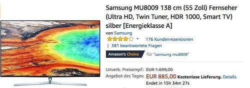 Samsung MU8009 138 cm (55 Zoll) Fernseher (Ultra HD, Twin Tuner, HDR 1000, Smart TV) - jetzt 11% billiger