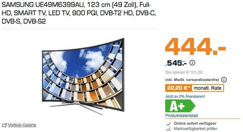 SAMSUNG UE49M6399AU 123 cm (49 Zoll) Full-HD Curved TV - jetzt 9% billiger