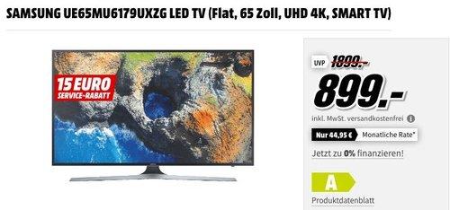 SAMSUNG UE65MU6179UXZG LED TV (Flat, 65 Zoll, UHD 4K, SMART TV) - jetzt 10% billiger