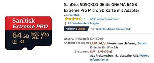 SanDisk SDSQXCG-064G-GN6MA 64GB Extreme Pro Micro SD Karte - jetzt 19% billiger