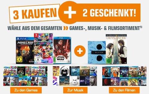 Saturn:  3+2 Geschenkt Aktion auf Games, Musik und Filme - jetzt 25% billiger