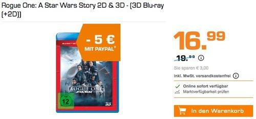 Saturn: bis zu 20€Rabattbei Zahlung mit Paypal - Rogue One: A Star Wars Story 2D & 3D - (3D Blu-ray (+2D)) - jetzt 29% billiger