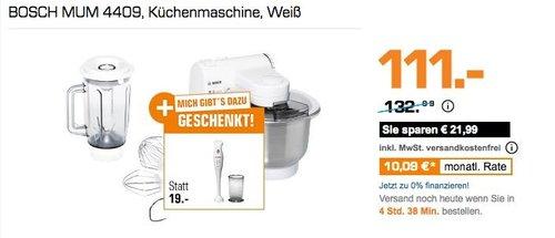 Saturn Geschenk-Aktion: BOSCH MUM 4409 Küchenmaschine + BOSCH MSM6B150 Stabmixer, 300 Watt - jetzt 15% billiger