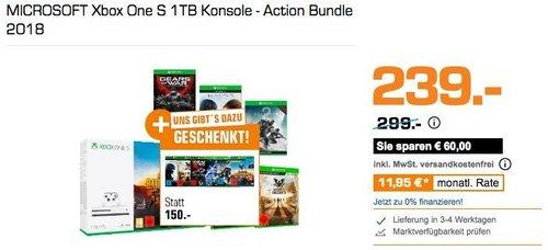 Saturn Geschenk-Aktion: MICROSOFT Xbox One S 1TB Konsole - Action Bundle 2018 - jetzt 20% billiger
