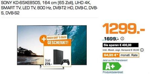 Saturn Geschenk-Aktion: SONY KD-65XE8505 164 cm (65 Zoll)  UHD 4K Fernseher + SONY PlayStation 4 Slim 500GB - jetzt 18% billiger