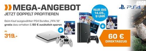Saturn PS4-Aktion: PS4 500GB Slim + Fifa 18 Gratis + 60€ Direktabzug - jetzt 32% billiger