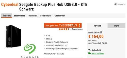 Seagate Backup Plus Hub USB3.0 - 8TB externe Desktop Festplatte - jetzt 7% billiger