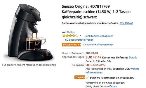 Senseo Original HD7817/69 Kaffeepadmaschine schwarz - jetzt 30% billiger