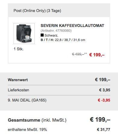 Severin KV9748 Kaffeevollautomat PICCOLA - jetzt 21% billiger