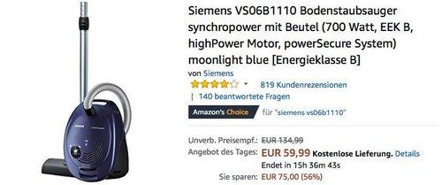 Siemens VS06B1110 Bodenstaubsauger synchropower mit Beutel - jetzt 14% billiger