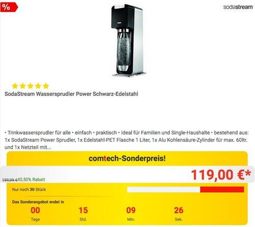 SodaStream Wassersprudler Power Schwarz-Edelstahl - jetzt 16% billiger