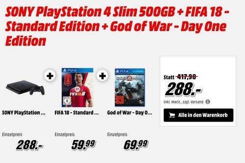 SONY PlayStation 4 Slim 500GB + FIFA 18 - Standard Edition + God of War - Day One Edition - jetzt 19% billiger