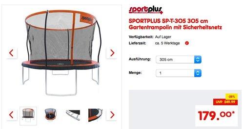 SPORTPLUS SP-T-305 305 cm Gartentrampolin mit Sicherheitsnetz - jetzt 17% billiger