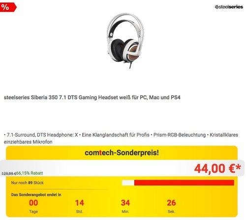 steelseries Siberia 350 7.1 DTS Gaming Headset weiß für PC, Mac und PS4 - jetzt 37% billiger