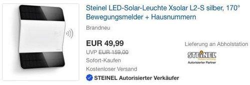 Steinel LED-Solar-Leuchte Xsolar L2-S silber, 170° Bewegungsmelder + Hausnummern - jetzt 48% billiger