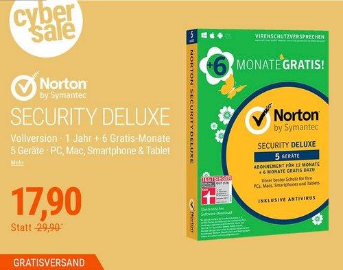 Symantec Norton Security 3.0 5 Geräte Deluxe 12 + 6 Monate GRATIS - jetzt 36% billiger
