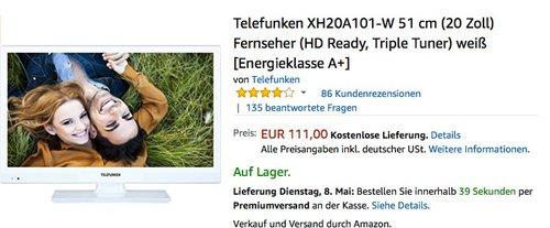 Telefunken XH20A101-W 51 cm (20 Zoll) Fernseher (HD Ready, Triple Tuner) weiß - jetzt 21% billiger