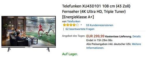 Telefunken XU43D101 108 cm (43 Zoll) Fernseher (4K Ultra HD, Triple Tuner) - jetzt 10% billiger