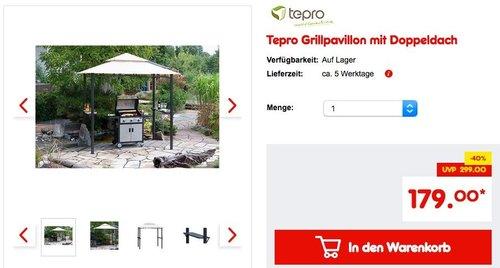 Tepro Grillpavillon mit Doppeldach - jetzt 10% billiger