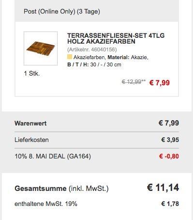 Terrassenfliesen-Set 4tlg, geöltes Akazienholz - jetzt 10% billiger