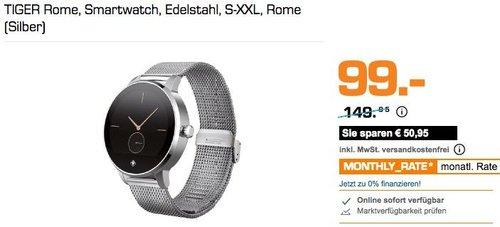 TIGER Rome Smartwatch Edelstahl S-XXL, Silber - jetzt 34% billiger