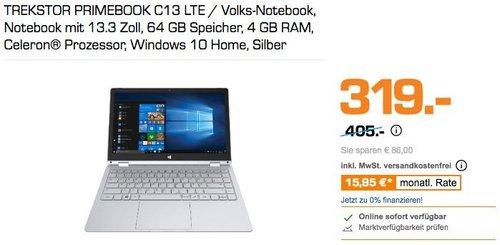 TREKSTOR PRIMEBOOK C13 LTE / Volks-Notebook, Notebook mit 13.3 Zoll, 64 GB Speicher, 4 GB RAM, Celeron® Prozessor, Windows 10 Home, Silber - jetzt 14% billiger