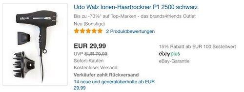Udo Walz Ionen-Haartrockner P1 2500 schwarz - jetzt 37% billiger