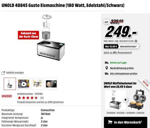 UNOLD 48845 Gusto Eismaschine + UNOLD 48315 Waffelautomat - jetzt 10% billiger