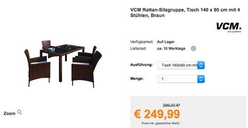 VCM Rattan-Sitzgruppe, Tisch 140 x 90 cm mit 4 Stühlen - jetzt 5% billiger