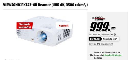 VIEWSONIC PX747-4K Beamer (UHD 4K, 3500 cd/m²) - jetzt 17% billiger